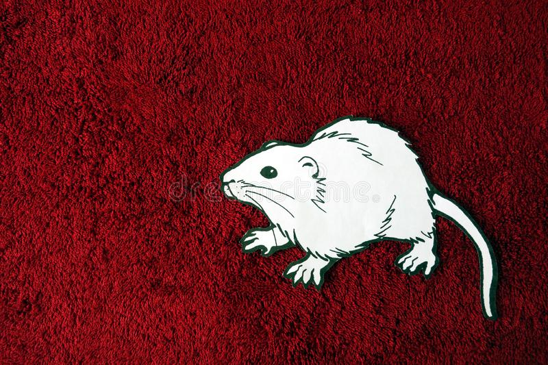 Rat from paper sheet on red background, happy new chinese or lunar year 2020 concept stock photos