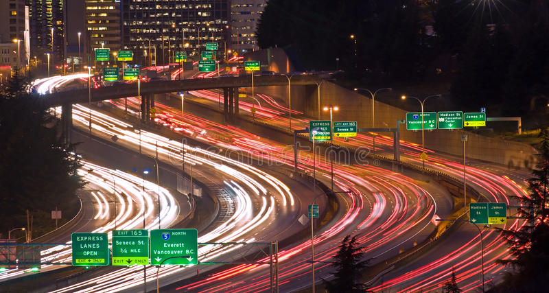 The Rat Race. Evening rush hour in Seattle on I-5, near James, Madison, Yesler and Seneca streets stock photos