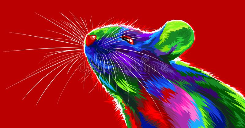 Rat on a red background. Symbol of the Chinese New Year 2020. multicolored, bright animal for a card or calendar. vector mouse stock photo