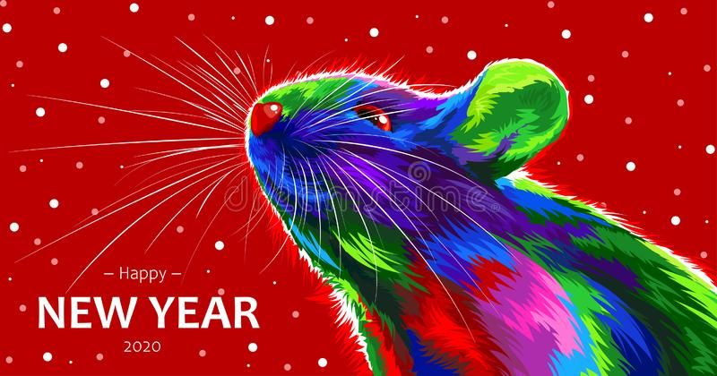 Rat on a red background. Symbol of the Chinese New Year 2020. multicolored, bright animal for a card or calendar. vector mouse. stock photos