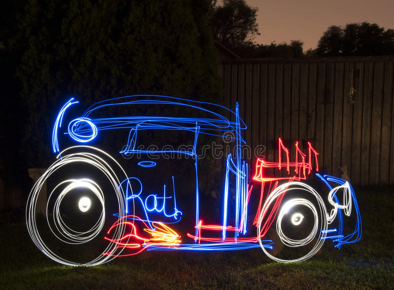 Rat Rod Light Painting Image stock foto