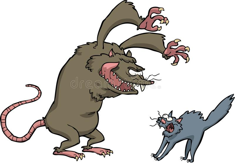 Rat scares the cat royalty free illustration