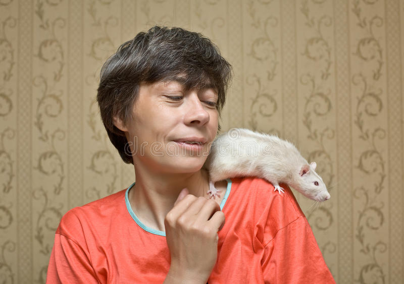 Download Rat on a shoulder stock image. Image of female, happiness - 13775023