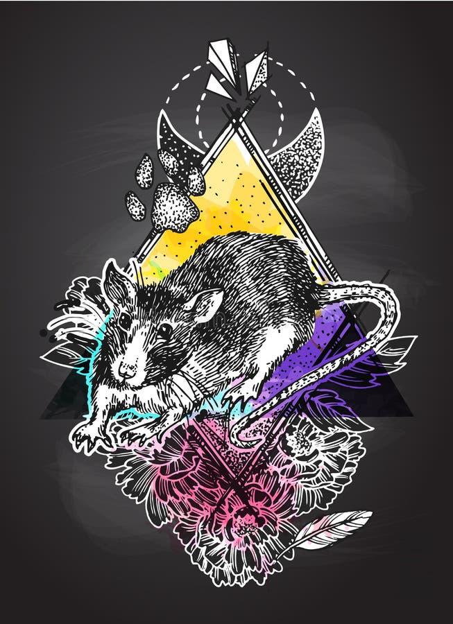 Rat sketch vector illustrations. Hand drawn picture with mouse. . Rat sketch vector illustrations. Hand drawn picture with mouse. Symbol of 2020 new year royalty free illustration