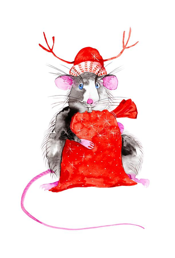 Rat symbol of the New 2020 in the red hat of Santa Claus with Christmas deer antlers holding a bag of gifts. Watercolor royalty free illustration