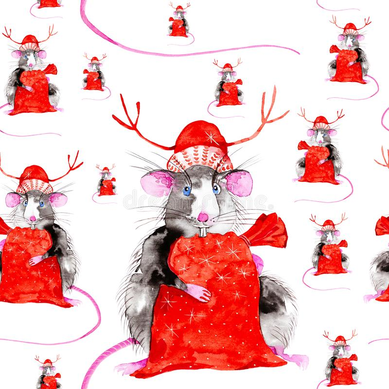 Rat symbol of the New 2020 in the red hat of Santa Claus with Christmas deer antlers holding a bag of gifts. Watercolor stock photography