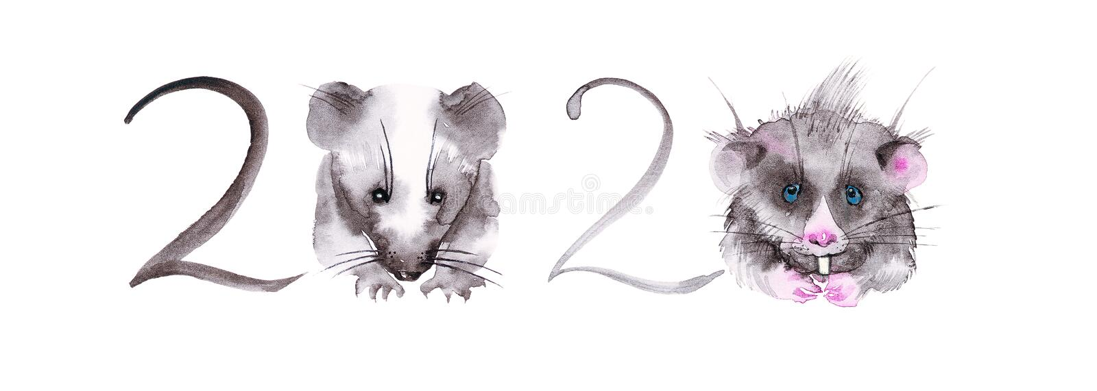 The rat is a symbol of the new year 2020. Abstract illustration of numbers for calendar. Instead of zeros, cute rats. Watercolor royalty free stock image