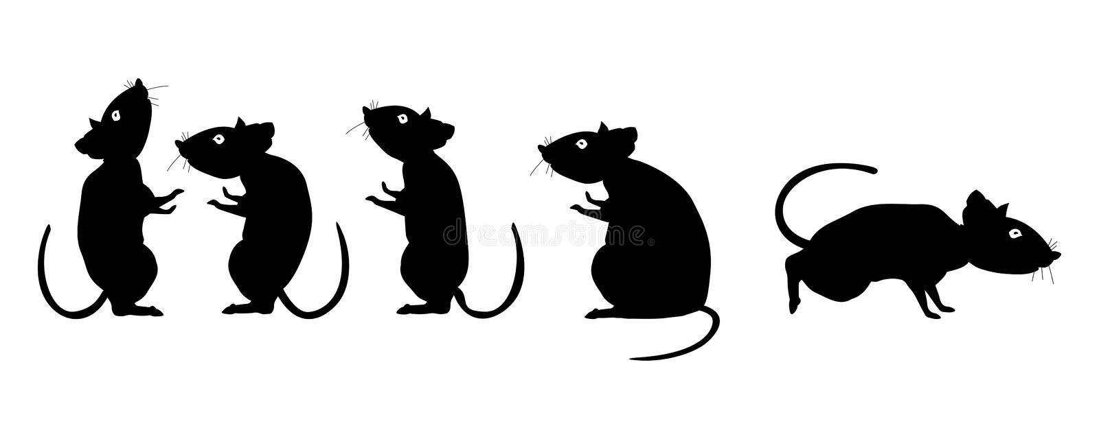 Rat is a symbol of the new year 2020. Cartoon silhouettes of rodents on a white background. Flat  illustration EPS10 royalty free illustration