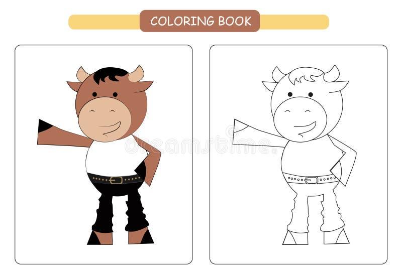 Coloring book for kids. Cute cartoon bull. Vector illustration. vector illustration