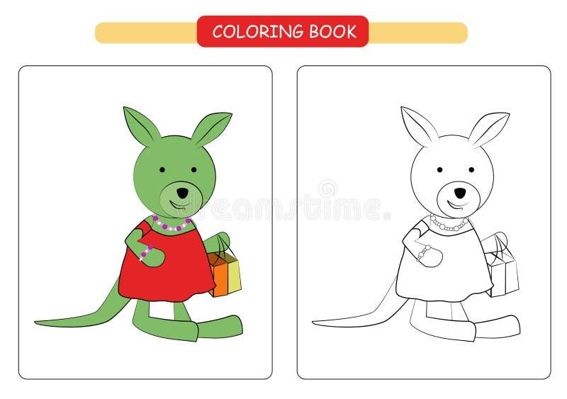 Coloring book for kids. Cute cartoon kangaroo. Vector illustration. royalty free illustration