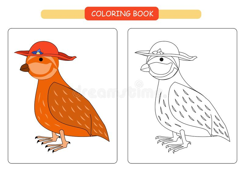 Coloring book for kids. Cute cartoon quail. Vector illustration. vector illustration