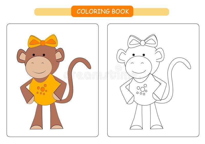 Coloring book for kids. Cute cartoon monkey. Vector illustration. stock illustration