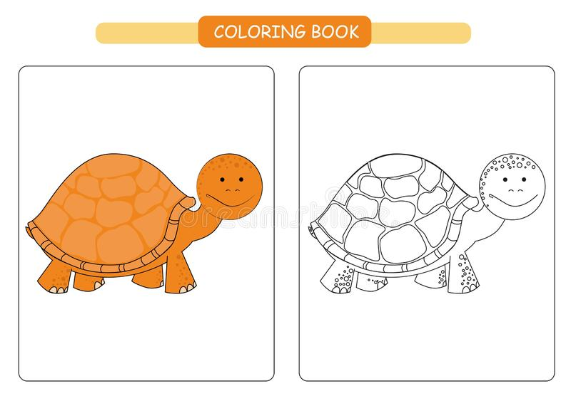 Coloring book for kids. Cute cartoon turtle. Vector illustration. stock illustration