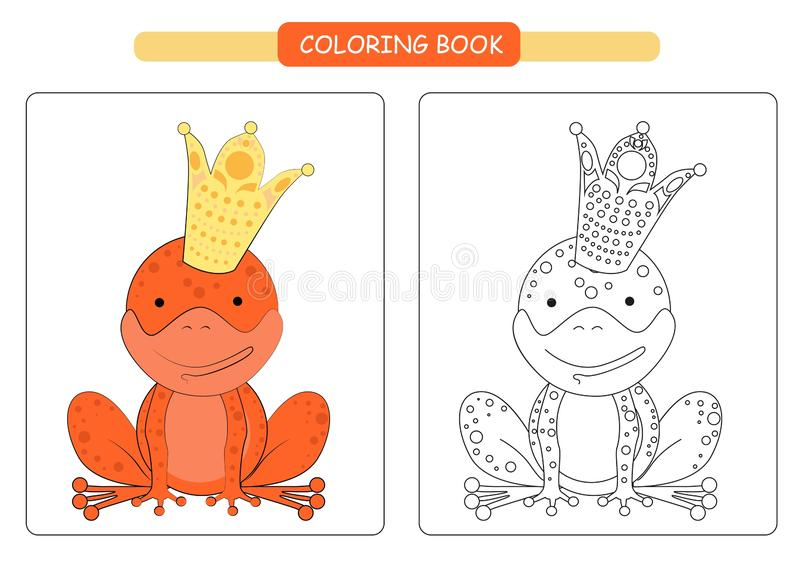 Coloring book for frog. Cute cartoon yabby. Vector illustration. royalty free illustration