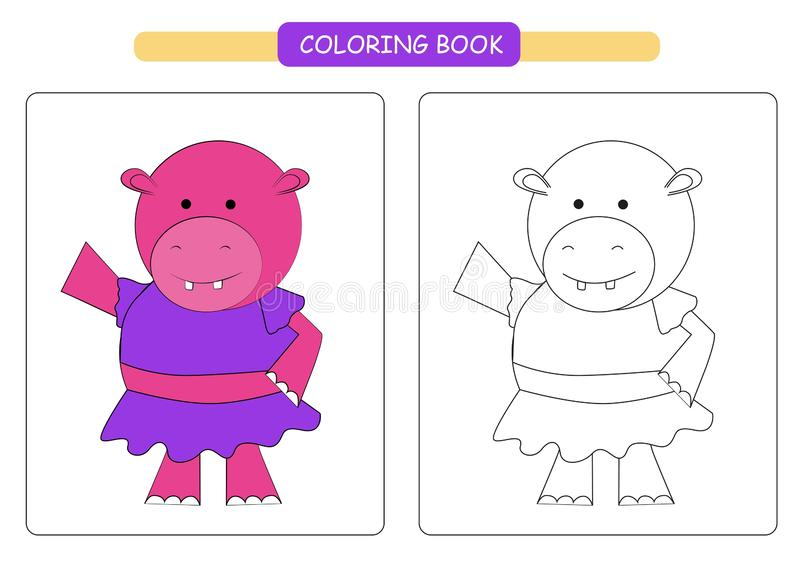 Coloring book for kids. Cute cartoon hippopotamus. Vector illustration. royalty free illustration