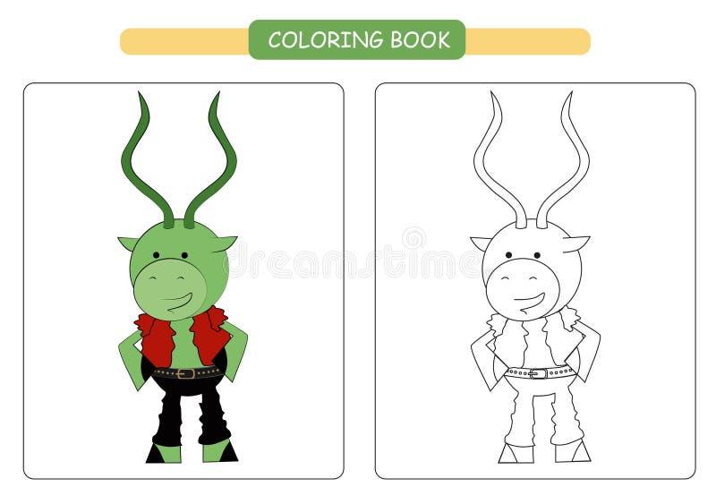 Coloring book for kids. Cute cartoon impala. Vector illustration. stock illustration