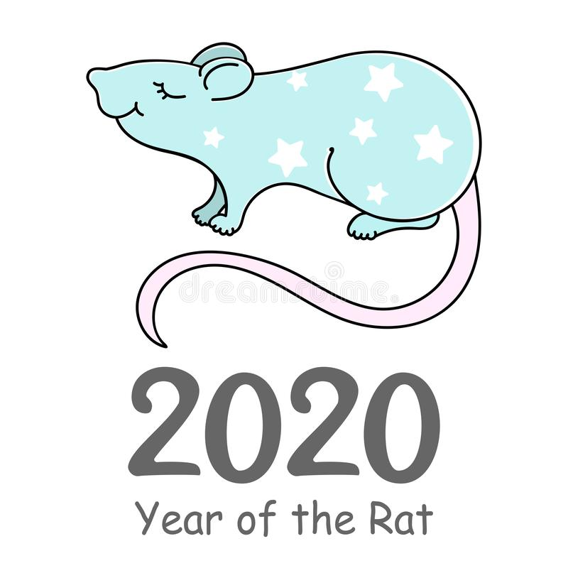 Rat Vector illustration. Happy new year 2020. Year of the Rat. royalty free stock photography