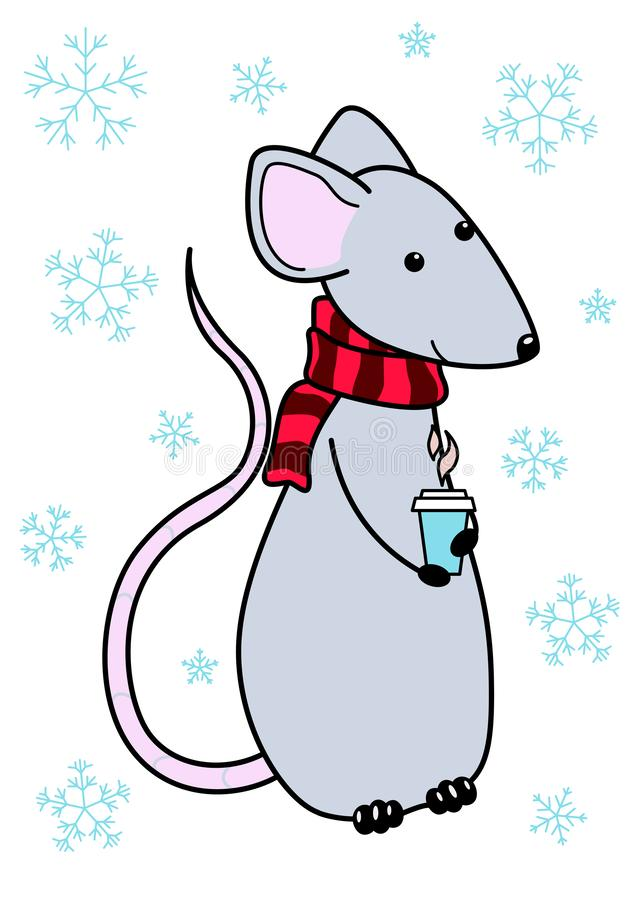 Rat year 2020. Vector cartoon rat. Symbol chinese happy new year 2020. Design for consept postcard,calender. Rat in a scarf with a royalty free illustration