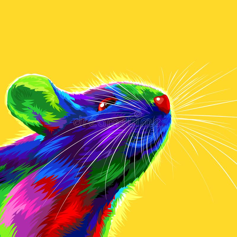 Rat on a yellow background. Symbol of the Chinese New Year 2020. multicolored, bright animal for a card or calendar. vector stock images