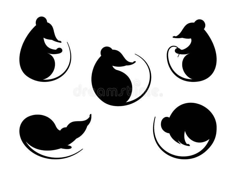 rat Zwart silhouet Vastgestelde verschillende silhouettenratten en muizen Symbool Chinees Nieuwjaar vector illustratie