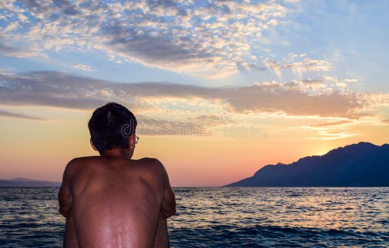Rata海滩,Brela,克罗地亚 免版税库存图片