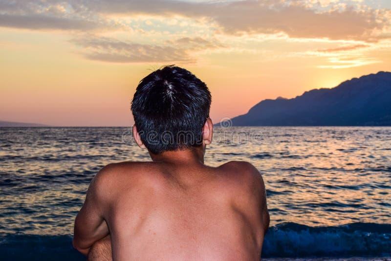 Rata海滩,Brela,克罗地亚 免版税库存照片