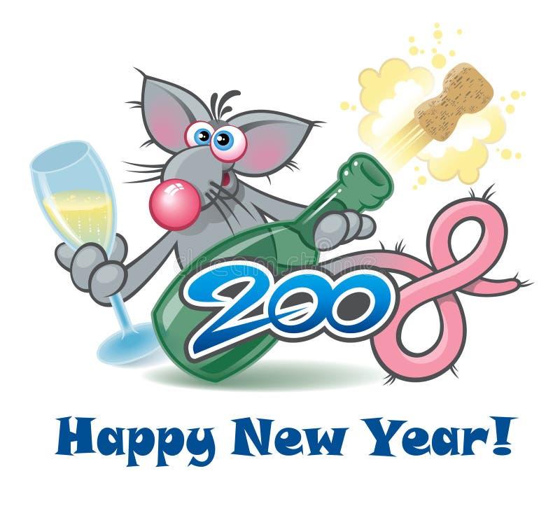 Rata 2008, personaje del Año Nuevo de la historieta stock de ilustración