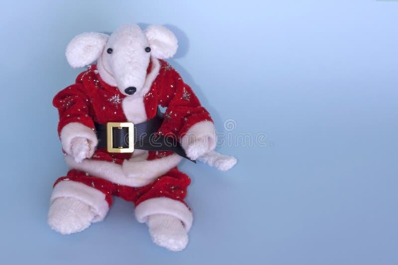 Rata blanca linda en un traje rojo de Santa Claus en un fondo azul claro Año de la rata blanca Feliz Año Nuevo 2020 de la postal imágenes de archivo libres de regalías