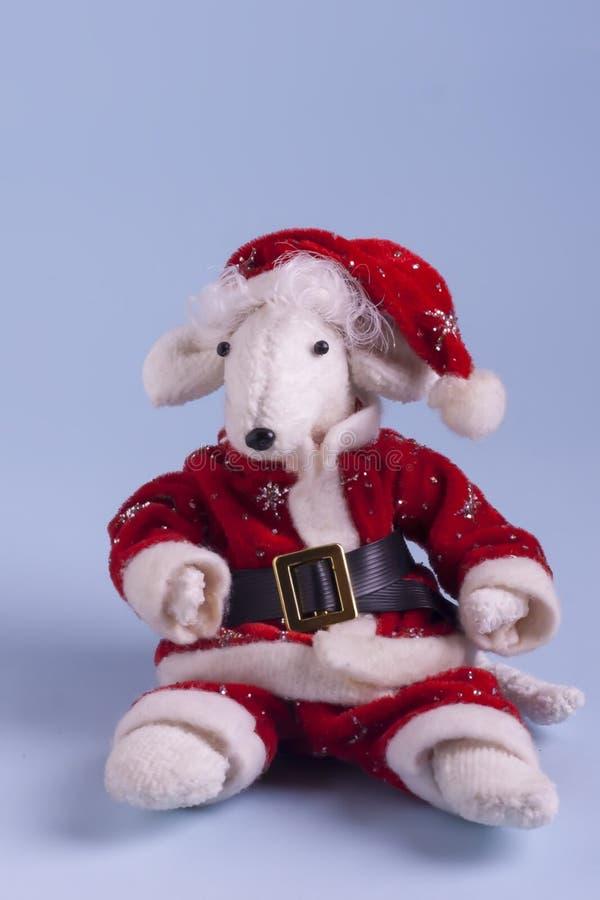 Rata blanca linda en un traje rojo de Santa Claus en un fondo azul claro Año de la rata blanca Feliz Año Nuevo 2020 de la postal fotografía de archivo
