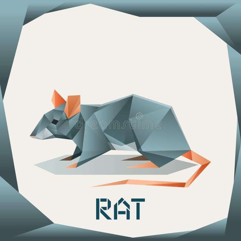 Rata del gris de la papiroflexia ilustración del vector
