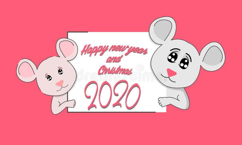 Rata divertida con una hoja de papel El s?mbolo del 2020 chino Feliz A?o Nuevo S?mbolo chino del a?o de la rata del metal blanco  ilustración del vector