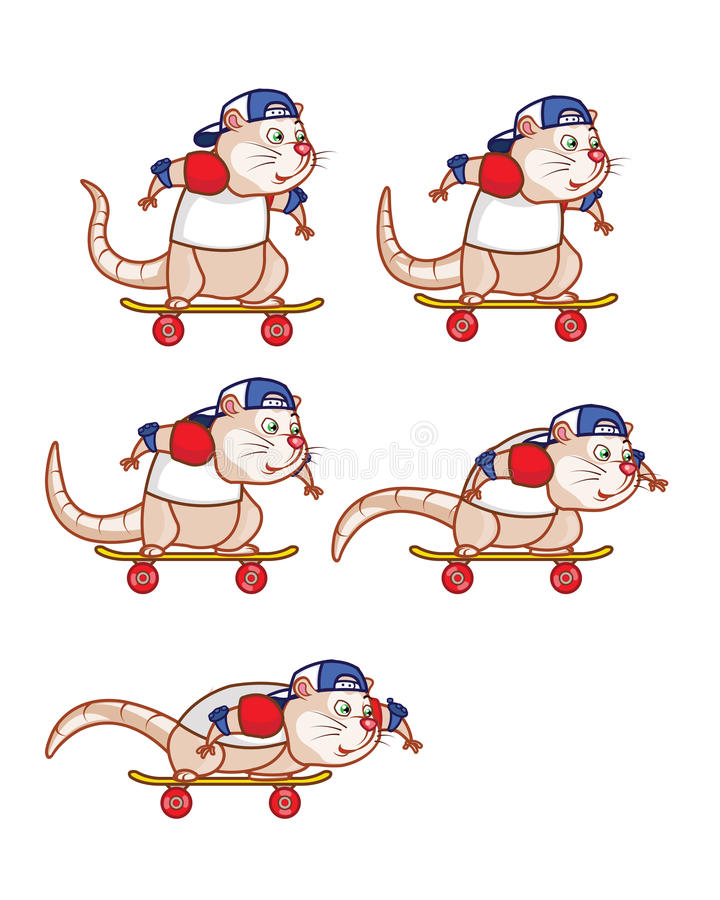 Rata Sprite que se agacha del tablero del patín libre illustration