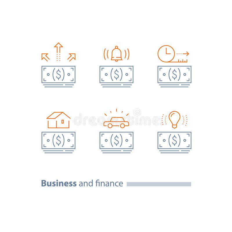 Ratalny pojęcie, hipoteczna pożyczka, samochodu kredyt, pieniądze plik, zaliczka, czasu okres, kontur ikony ilustracji