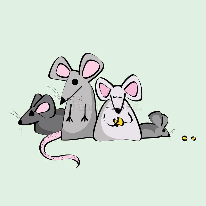 Ratas del animal doméstico del laboratorio en un grupo, comiendo libre illustration
