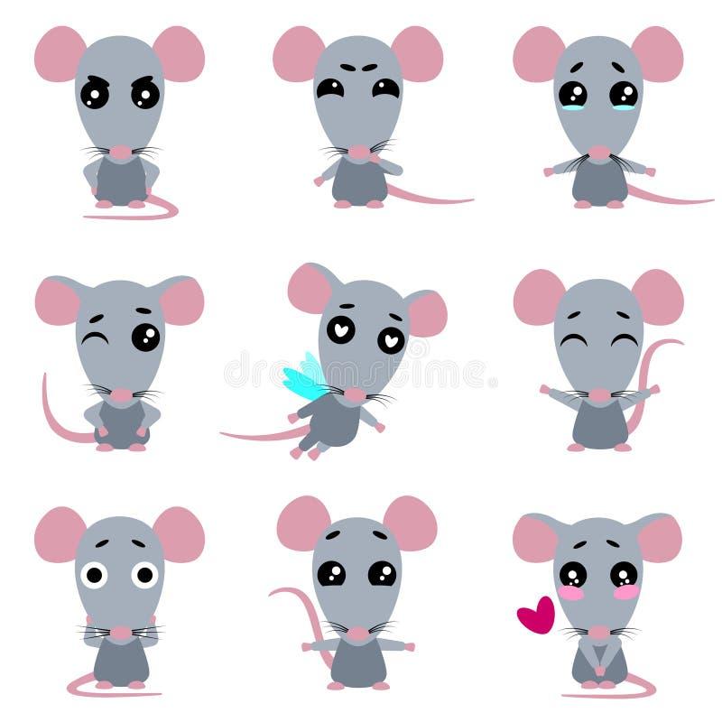 Ratas grises lindas Rata en estilo del kawaii Sistema del vector ilustración del vector