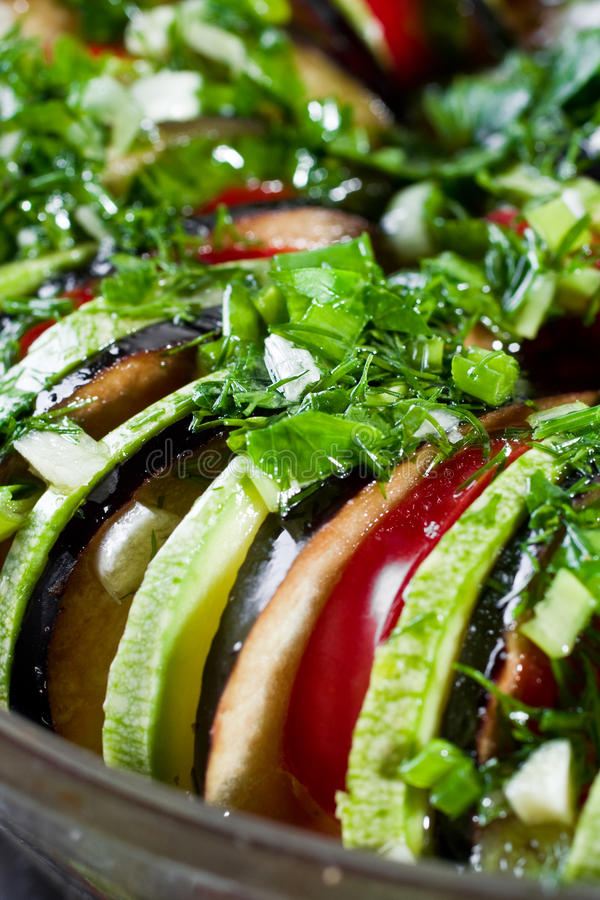 Ratatouille. Uncooked ratatouille in a bowl. Close up shot royalty free stock photos