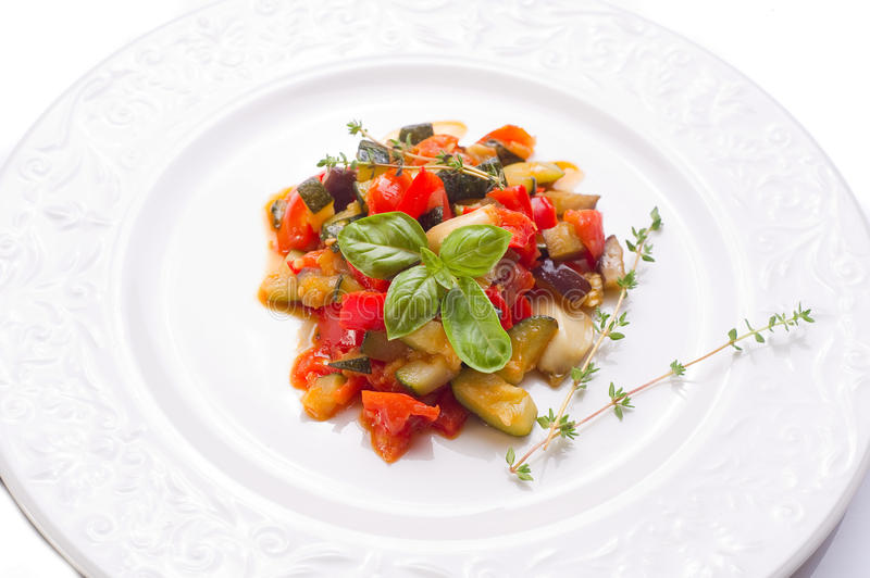 Ratatouille with basil royalty free stock images