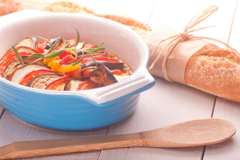 Ratatouille in a dish , casserole. Ratatouille in a dish , casserole royalty free stock images