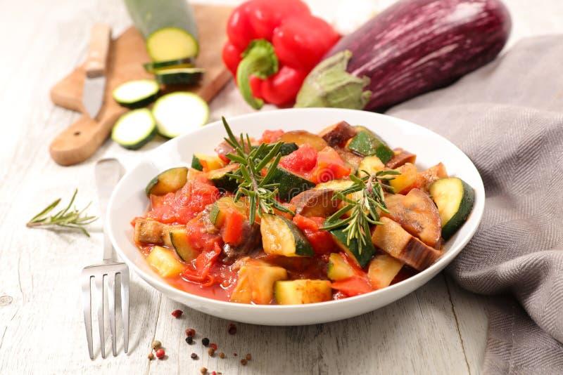 Ratatouille. With eggplant, zucchini and tomato stock image