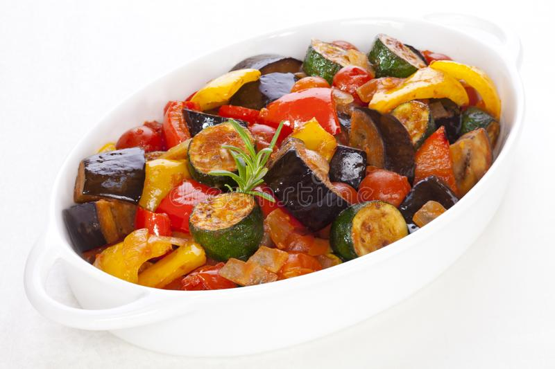 Ratatouille on White. Ratatouille, famous French dish from Provence, on white royalty free stock images
