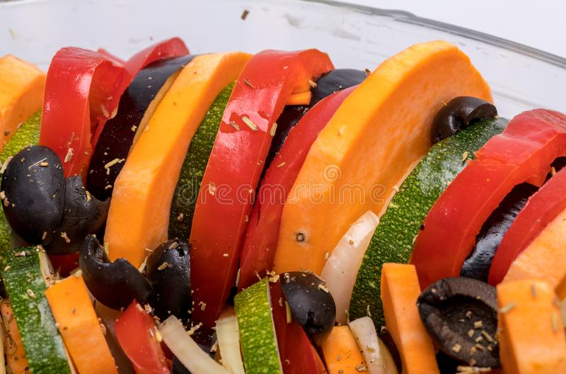 Ratatouille, French Provençal stewed vegetable dish originating in Nice. Ratatouille, French Provençal stewed vegetable dish originating in Nice royalty free stock images