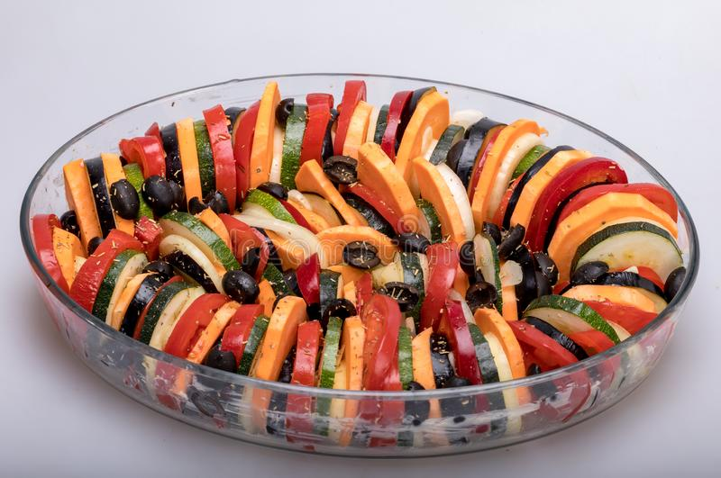 Ratatouille, French Provençal stewed vegetable dish originating in Nice. Ratatouille, French Provençal stewed vegetable dish originating in Nice royalty free stock image