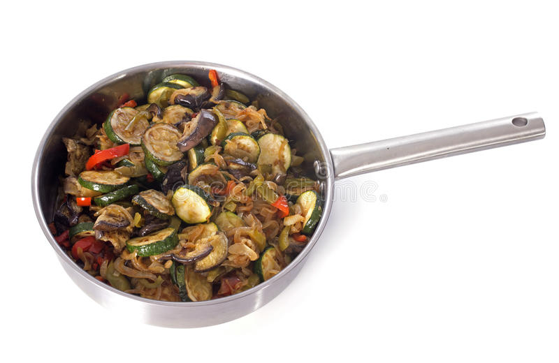 Ratatouille. Home made in front of white background stock photography