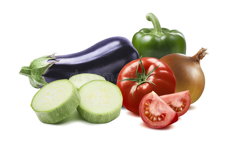 Ratatouille ingredients green pepper aubergine tomato onion isol. Ated on white background as package design element royalty free stock photo