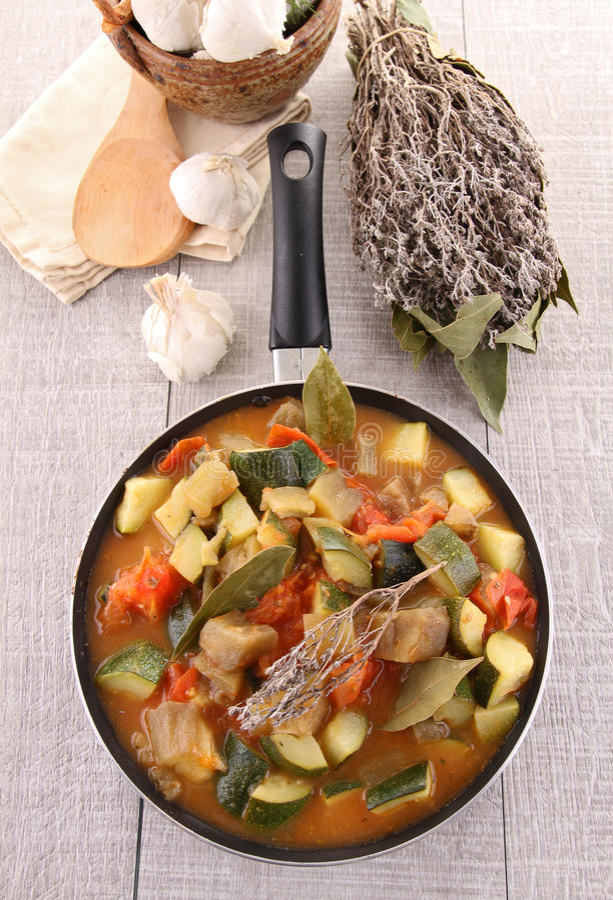 Ratatouille in pan. Studio shot stock photos