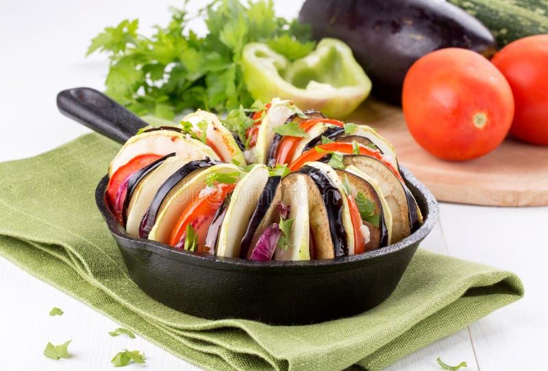 Ratatouille. Baked vegetables royalty free stock photo