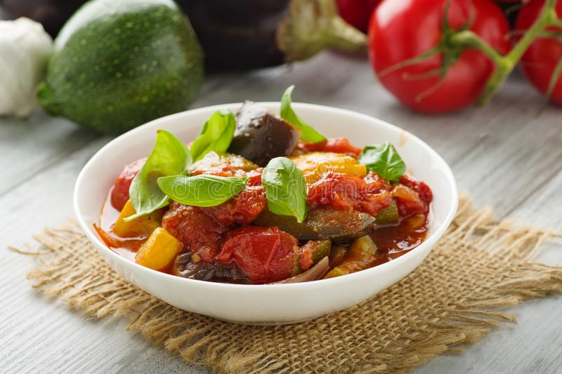 Ratatouille. French vegetable stew with tomotoes, aubergines, courgettes and peppers stock photography