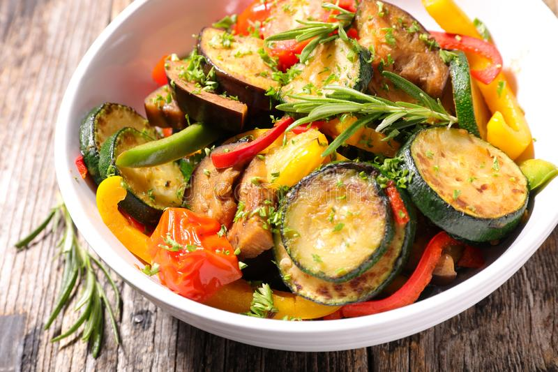 Ratatouille. Grilled zucchini, tomato and bell pepper royalty free stock photography