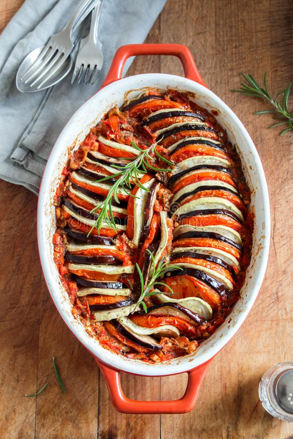 Ratatouille. Traditional French Provencal vegetable dish cooked in oven. Diet vegetarian vegan food -  casserole royalty free stock photos
