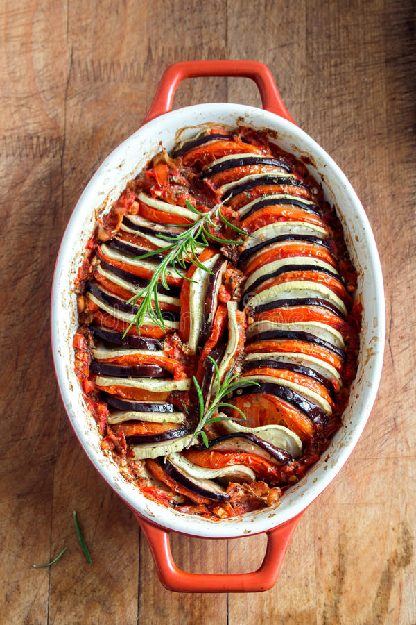 Ratatouille. Traditional French Provencal vegetable dish cooked in oven. Diet vegetarian vegan food -  casserole royalty free stock photography